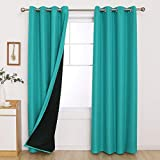 Deconovo Curtains Blackout Long Light Blocking Soundproof Curtains Double Layer Grommet Bedroom Curtains 2 Panel Sets for Sliding Glass Door 52x90 Inch Turquoise Set of 2