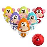 Chicco Monkey Strike Juego de Bolos para Niños con 6 Bolos Desmontables y Apilables en 12 Piezas con una Bola Ligera Incluida - Juguete de Bolos de Infantiles, Regalo para Niños de 18 Meses+