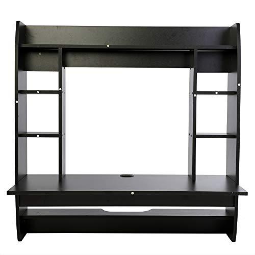 Mesa para Computadora Escritorio De Computadora Montado En La Pared De Flotante Inicio Oficina Dormitorio Muebles Estante De Almacenamiento PC Tabla Black