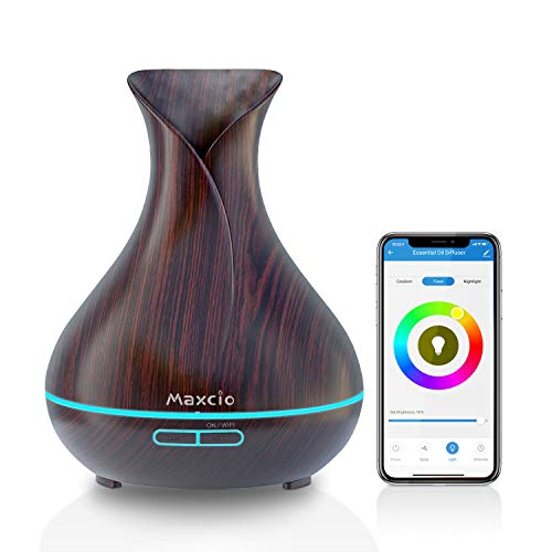 WiFi Difusor Aromaterapia, Maxcio Humidificador Ultrasónico Aceites Esenciales 400ml 7-Color LED 2 Modos de Nieble Controlable por Vía Wifi y Voz Compatible Con Amazon Alexa y Google Home