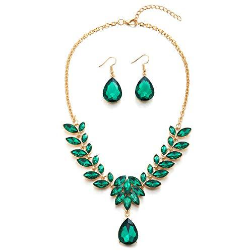COOLSTEELANDBEYOND Verde Statement Collar Cristal Cluster Hoja Pétalo Lágrima Colgante Oro Cadena, Boda Fiesta Prom, Pendientes Incluidos