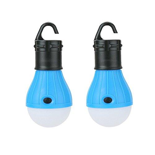 Confezione da 2lampadine LED lanterne da campeggio. SUN RUN luci da tenda, luci di emergenza notturne per esterni e interni, escursionismo, pesca. Portatili, alimentazione a batteria., blue