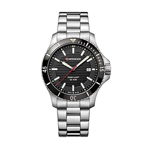 Wenger Hombre Seaforce - Reloj de Acero Inoxidable de Cuarzo analógico de fabricación Suiza 01.0641.118
