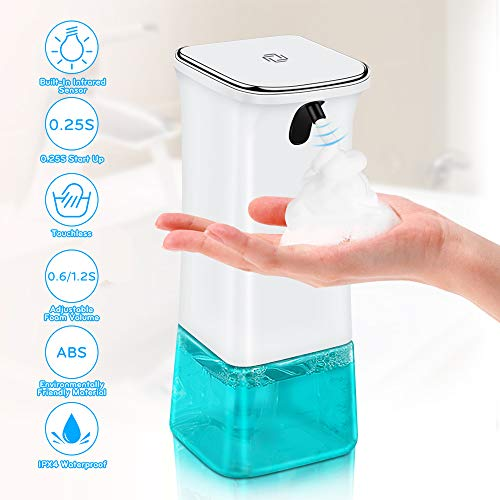 VEEAPE Seifenspender Automatisch 280ml, Schäumende Seifenspender mit Sensor Infrarot, Berührungslos Schaumseifenspender mit 2 Einstellbare Schaummenge für Bad & Küche…