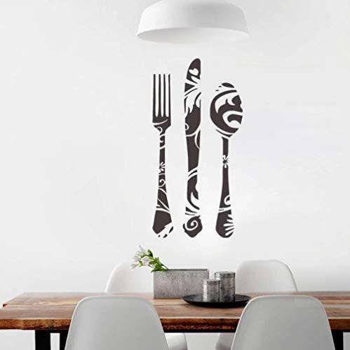 Muurstickers muurschilderingen Afneembare Home Decorkitchen Plakken Mes en Vork Tool PVC Verwijderbare Decoratieve Sticker 38 * 76 cm