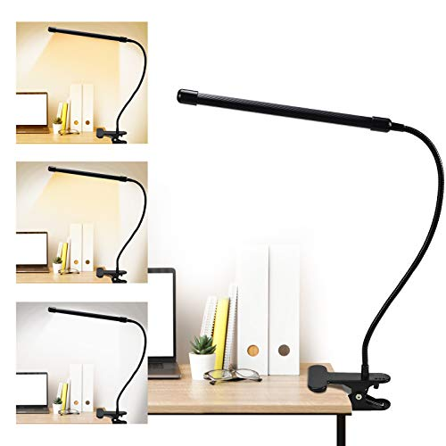 Luz Lectura con Flexo Pinza LED Lampara Lectura con 3 modos de Iluminacion, Luz Led USB 9 Modos de Brillo Ajustable, 360° Flexo Led para Lectura, Estudio y Trabajo(negro)