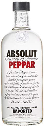 Absolut Peppar – Absolut Vodka mit Pfefferaroma - ideal für Bloody Mary Liebhaber – Absolute Reinheit und einzigartiger Geschmack in ikonischer Apothekerflasche – 1 x 0,5 L
