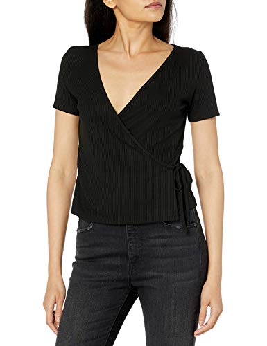 The Drop Women's Melissa Short Sleeve Faux Wrap Rib Knit Top