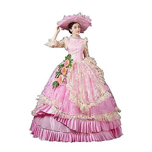 Zhenwo Vestido Rococó Barroco María Antonieta 18A Renacimiento del Siglo Período Histórico De Estilo Victoriano para Wome,Rosado,XXXL