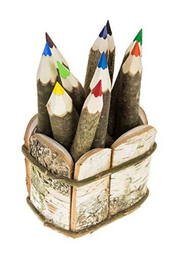 10xHolzbuntstiften,Set,10X Buntstfie Haselnuss,Holzstifte + BirkeKorb Natur Stifte Twig crayons, holz buntstifte,malstiften,rustikal