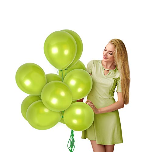 Treasures Gifted Pearl Metallic Lime Green Balloons in 36 Pack with Curling Ribbons Bright Latex Helium for Baby or Bridal Shower Decorations and Birthday Party Supplies
