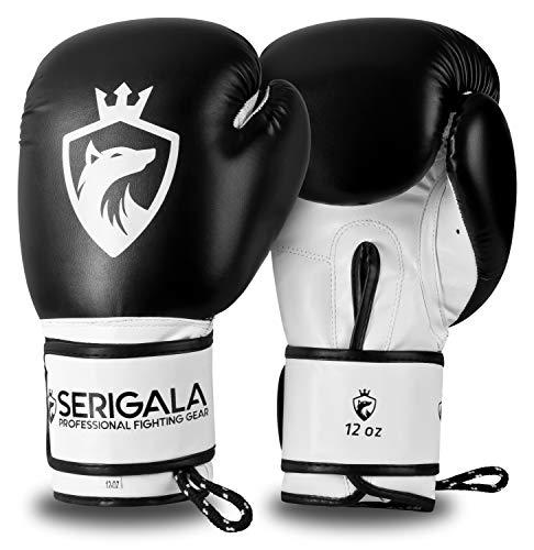 Serigala Boxhandschuhe mit hohem Tragekomfort - Kickboxhandschuhe für Kampfsport, MMA, Thaiboxen, Muay Thai, Boxsack Training und Sparring - Inklusive Tasche und Trageschlaufe 14 oz