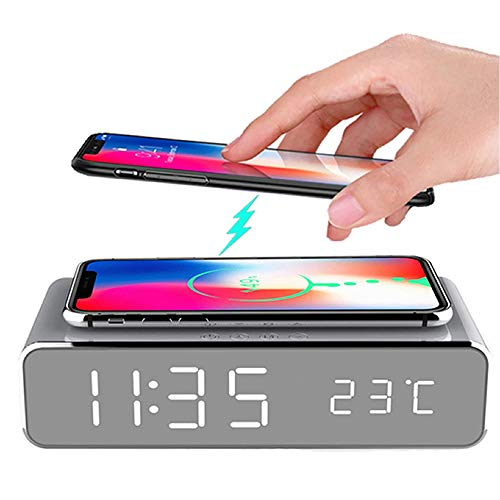 Hopkog LED Smart Alarm Clock Time Temperature Display Wireless Charging