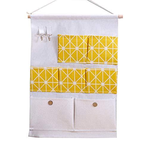 lujiaoshout 7 Poket Hanging Sacs de Rangement Case Closet Organiseur paniers Porte Mur Auto-adhésif pour Crochets Cuisine Chambre Salle de Bain Bureau Jaune