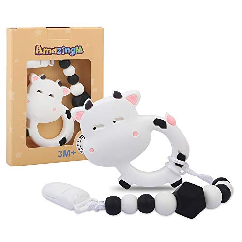 AmazingM Baby Teething Toys,Food Grade Silicone Teether Toy with Pacifier Clip Holder,BPA Free,Freezer Safe,Teething Egg for Infants and Toddlers (Cow)