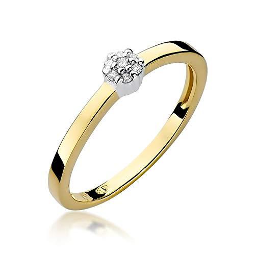 Damen Versprechen Ring Verlobungsring Antragsring 585 14k Gold Gelbgold natürlicher echt Schwarze Diamanten Brillanten