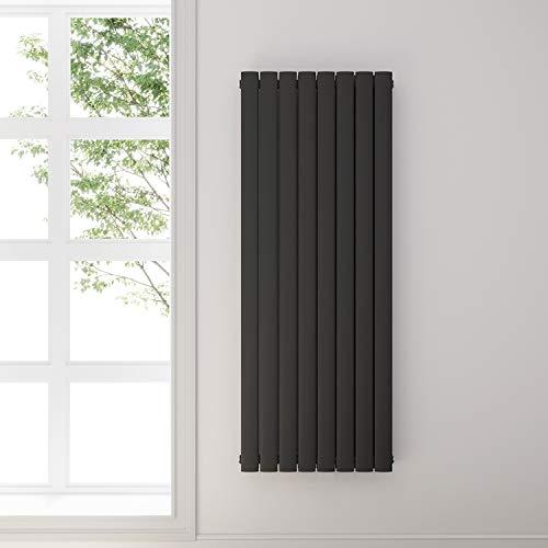 Design Flach Heizkörper 1600x616mm Antrazit Paneelheizkörper Vertikal Mittelanschluss Doppellagig