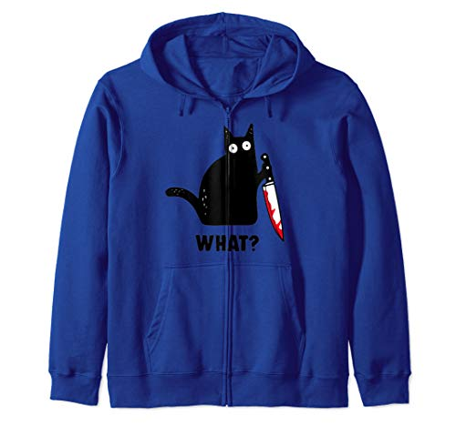 Cat What? Funny Black Cat Shirt, Murderous Cat With Knife Zip Hoodie