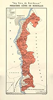 Bordeaux Wine. Vins de Bordeaux - Premières Côtes de Bordeaux. Larmat - 1949 - Old map - Antique map - Vintage map - Printed maps of Gironde