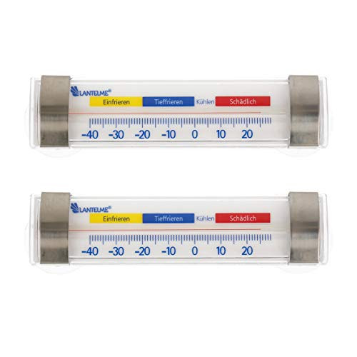 Lantelme 2 Stück Kühl Gefrierschrank Thermometer Set Kühlschrankthermometer Kunststoff Edelstahl Haken Saugnapf 7589