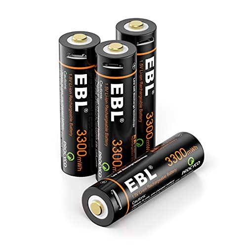 EBL AA Battery 1.5V AA Lithium ion Batteries 3300mWh High Capacity with Micro USB Cable, 2 Hours Quick Charge USB AA Rechargeable Batteries 4 Packs