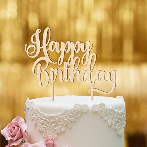 Dankeskarte.com Cake Topper zum Geburtstag - Happy Birthday 3 - Buchenholz - XL - Tortenaufsatz, Kuchen, Tortendeko, Tortenstecker, Kuchanaufsatz, Kuchendeko