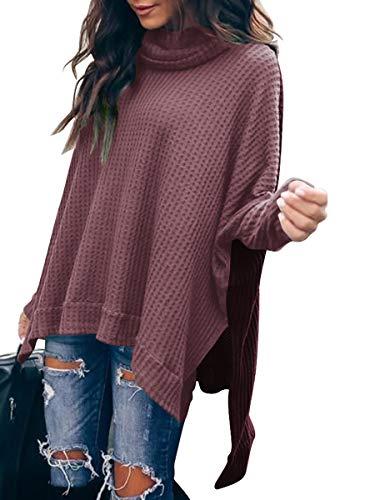 Caracilia Turtlenck Batwing Sleeve High Low Hem Side Slit Waffle Knit Sweater Women C8A3-xiu+zaose-XS