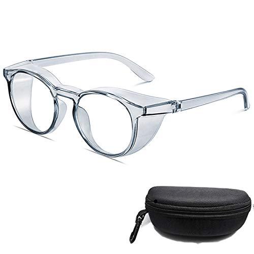 gafas de seguridad antivaho antiaranazos,Gafas protectoras luz azul para mujeres anti polen,transparentes redondas Marco de protección UV para hombres (azul)