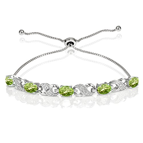 Ice Gems Sterling Silver Genuine Peridot Infinity Adjustable Bracelet