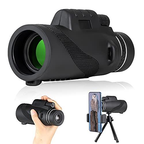 Telescopio monocular 12X50 alcance monocular de alta potencia con soporte de teléfono y trípode para observación de aves vida silvestre viajes concierto juego deportivo