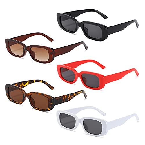 MMOWW Confezione da 5 Occhiali da Sole da Donna Rettangolari, UV400 Protezione, Vintage Occhiali da Guida