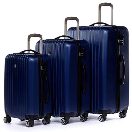 FERGÉ Kofferset Hartschale 3-teilig erweiterbar Toulouse Trolley-Set - Handgepäck 55 cm, L und XL 3er Set Hartschalenkoffer Roll-Koffer 4 Rollen 100{f676935a9d9a28b6d4ffa6cbd74636f13173c14dfdb0d5079b3f8b504b9b65f0} ABS blau