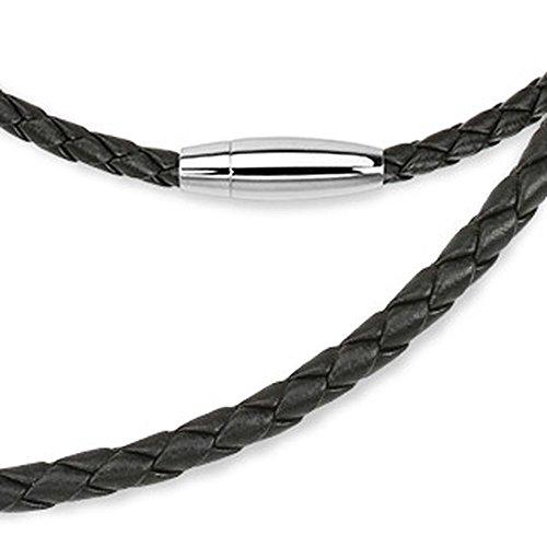 Bungsa® Lederhalskette schwarz gewebt mit ovalem Magnetverschluss für Damen 4mm breit / 50 cm lang (Damenkette Herrenkette Necklace Herren Frauen Männer Schmuck)