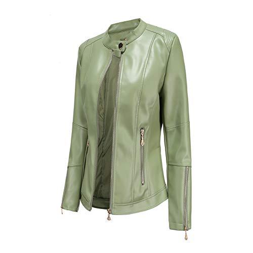 Damen Kunstleder Jacke Leather Jackets Motorradjacke Bikerjacke PU Lederjacke Outwear Kurz Damenjacke Kurze Jacke für Frühling Herbst (4 Farben),4-Mustard-Green,S