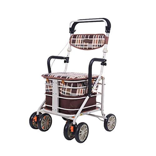Carrelli della spesa Carrello della spesa Anziani Carrello a quattro ruote Home Walking Car Anziani Carrello della spesa Scooter Outdoor Walker Può sedersi Carrello Carico 100 kg Carrelli della spesa