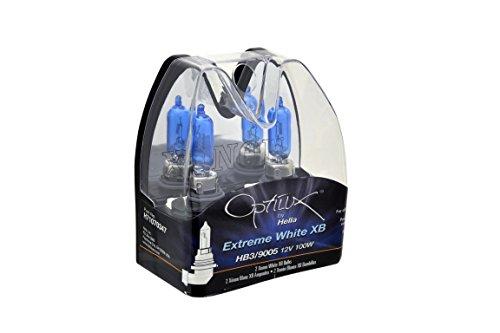 Optilux Hella H71070347 XB Series HB3 9005 Xenon White Halogen Bulbs, 12V, 100W, 2 Pack