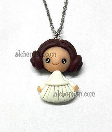 Princess Leia Organa, collana con pendente modellato a mano in FIMO nichel free, Principessa Leila Star Wars Guerre Stellari