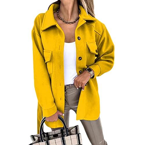 YAOTT Abrigo De Mujer De Moda,Chaquetas con Cinturón Informal,Abrigos Solapa con Botones Primavera Otoño,Abrigo Corta Elegante Retro con Bolsillos,Chaqueta Ligera,Amarillo,S