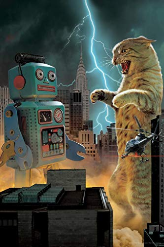 Catzilla Vs Robot Animal Battle in New York City by Vincent HIE Fantasy Art Print Poster 24x36 inch