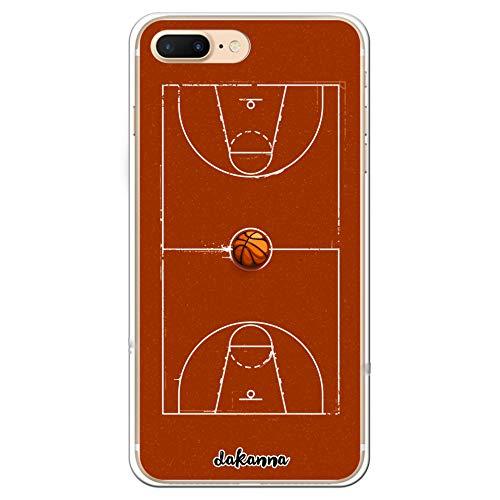 dakanna Funda para iPhone 7 Plus - 8 Plus | Campo y balón de Baloncesto | Carcasa de Gel Silicona Flexible Transparente