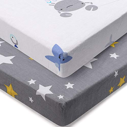 ABirdon 2er Pack Baby Spannbettlaken für Kinderwagen, 100% Baumwolle Baby Spannbetttuch, Weich Atmungsaktiver Kinderbett und Stubenwagen Bettlaken für 120 x 60 cm oder 140 x 70 cm Matratze