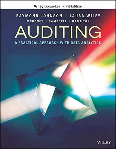 Compare Textbook Prices for Auditing: A Practical Approach with Data Analytics 1 Edition ISBN 9781119401742 by Johnson, Raymond N.,Wiley, Laura,Moroney, Robyn,Campbell, Fiona,Hamilton, Jane
