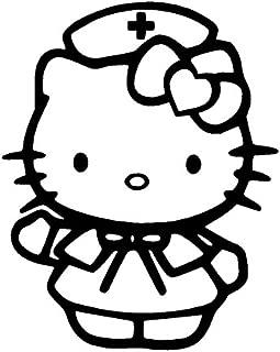 32 & Willys Hello Kitty Nurse Premium Decal 5 inch Pink | Nurse | Registered Nurse | RN | R.N. | LPN | CNA | car Truck Van Laptop MacBook Bumper Sticker