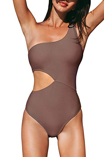 CUPSHE Women's One Piece Swimsuit One Shoulder Cut Out Ribbed Swimwear Bathing Suits Coffee S