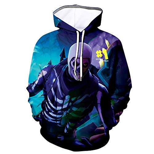Youth 3D Printed Hooide Battle Royale Floss Sweatshirt with Pocket for Ninja Boys Tnite Skull Kids-XL(14-16)