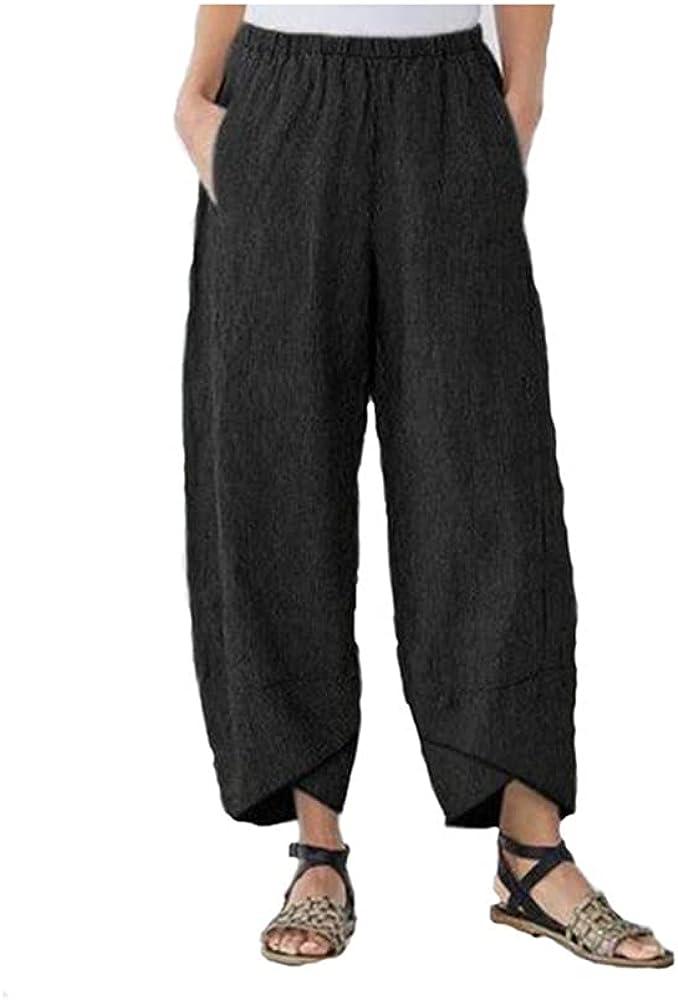 Blivener Capri Pants for Women, Summer Beach Casual Harem Comfy Pants, Print Cropped Trouser