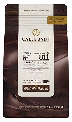 Callebaut N° 811 (54,5% cacao) - Gotas de cobertura de chocolate negro belga (callets) fáciles de fundir El chocolate n° 1 de muchos chefs por su delicioso sabor, su facilidad de manejo y sus infinitos maridajes posibles. Chocolate suave y equilibrad...