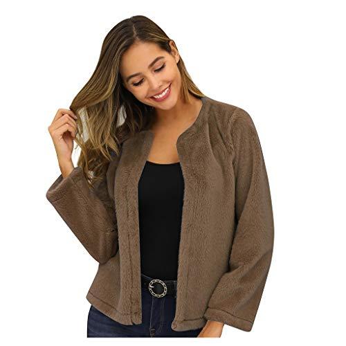 TAMALLU Sweater Mantel Damen Modische Casual Langarm Winter Warm Oberteile(Kaffee,L)