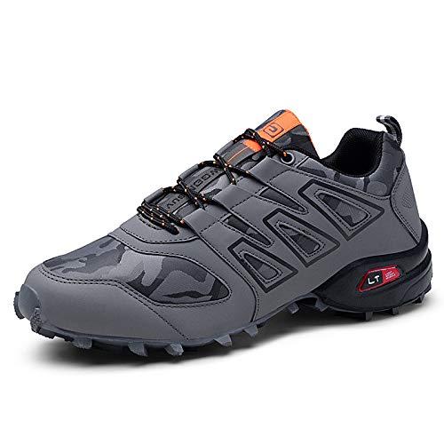 KUXUAN Zapatillas de Ciclismo para Hombre - Zapatillas de Bicicleta de Carretera Zapatillas de Bicicleta de Montaña Zapatillas de MTB, Zapatos para Correr Casuales Antideslizantes,Grey-41