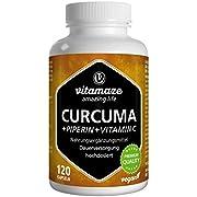 Vitamaze Curcuma e Piperina plus Vitamina C ad Alto Dosaggio, L'Estratto 95% da Curcumina Pura, 120 Capsule Vegan per 40 Giorni, Qualità Tedesca, Integratore Alimentare senza Additivi non Necessari